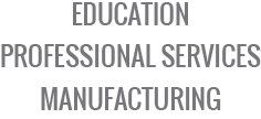 education, professional services, manufacturing